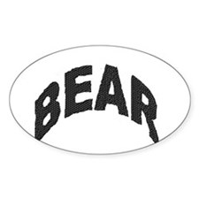 BEAR BLACK ARCHED LETTERS Oval Decal