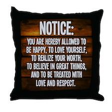 Notice Throw Pillow