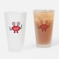 Cute Red Monster with crab eyes and blue tentacles