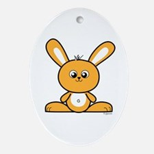 Yellow Bunny Oval Ornament