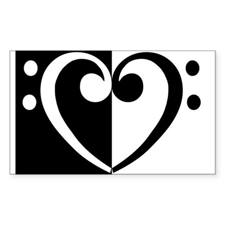 Bass Heart Music Rectangle Sticker