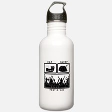Eat Sleep Festival (black) Water Bottle