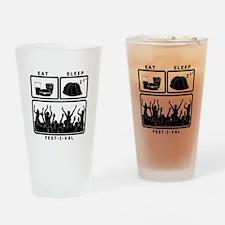 Eat Sleep Festival (black) Drinking Glass