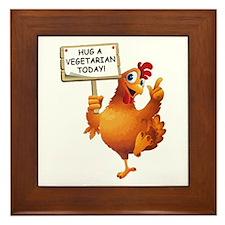 Hug A Vegetarian Today Framed Tile