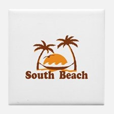 South Beach - Palm Trees Design. Tile Coaster