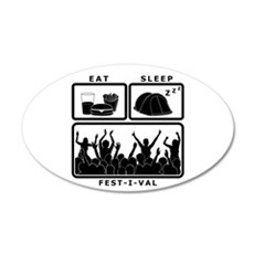 Eat Sleep Festival (black) Wall Sticker