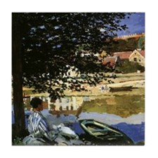 On the Bank of Seine by Claude Monet Tile Coaster