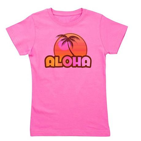 Pink Aloha Palm Girl's Tee