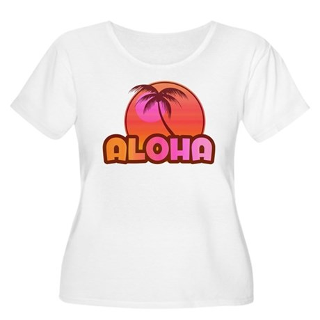 Pink Aloha Palm Women's Plus Size Scoop Neck T-Shi