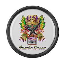 Mardi Gras Gumbo Queen 2 Large Wall Clock