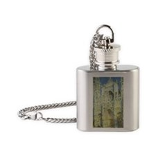 Rouen Cathedral by Claude Monet Flask Necklace