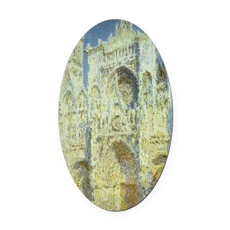 Rouen Cathedral by Claude Monet Oval Car Magnet