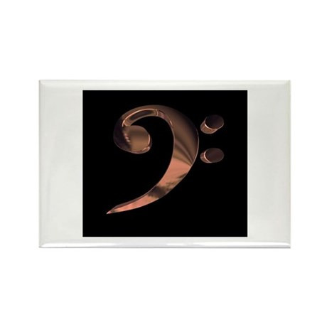 Bass Clef in Metal Rectangle Magnet (10 pack)