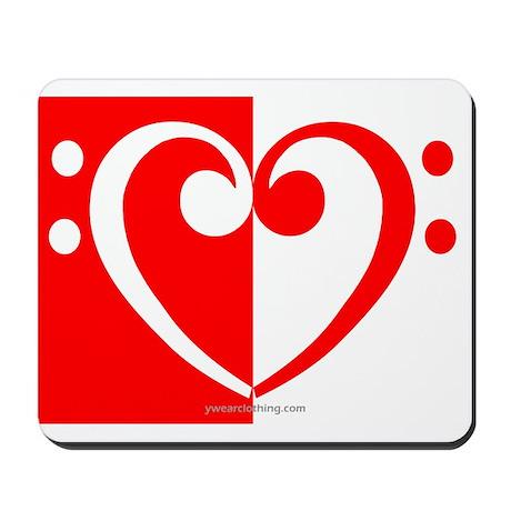 Red Bass Heart Mousepad