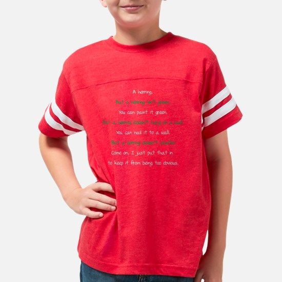 Whats green riddle answer on  Youth Football Shirt