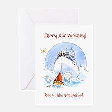 Anniversary Greeting Card - Keep Calm and Sail On!
