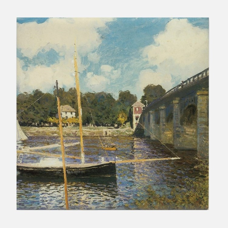 Highway Bridge by Claude Monet Tile Coaster