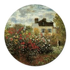Claude Monet's Garden at Argenteu Round Car Magnet