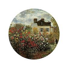 "Claude Monet's Garden at Argenteuil 3.5"" Button"