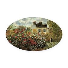 Claude Monet's Garden at Argenteui Oval Car Magnet