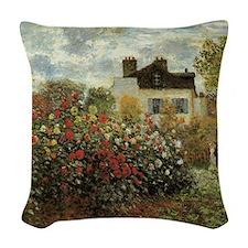 Claude Monet's Garden at Argen Woven Throw Pillow