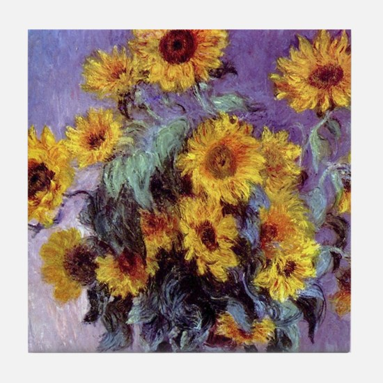 Bouquet of Sunflowers by Claude Monet Tile Coaster