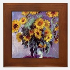 Bouquet of Sunflowers by Claude Monet Framed Tile