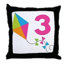 3rd Birthday Kite Throw Pillow