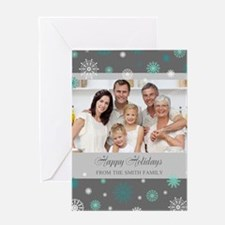 Grey Christmas Family Photo Greeting Card