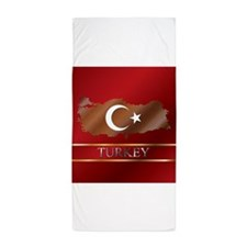 Turkey Map and Flag Beach Towel