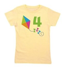 4th Birthday Kite Number 4 Girl's Tee