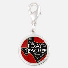 Texas Teacher Silver Round Charm