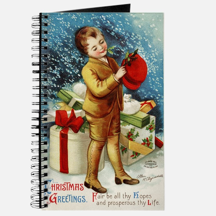 Vintage 1900s Christmas Greetings Journal