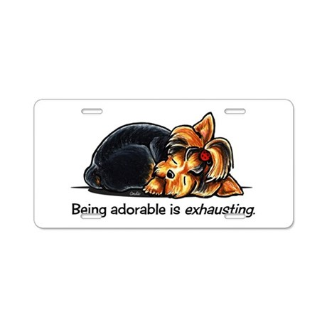 Yorkie Being Adorable Aluminum License Plate