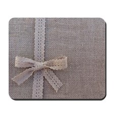 Vintage Country Burlap Lace Bow Mousepad