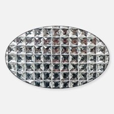 Square Diamond Bling Sticker (Oval)