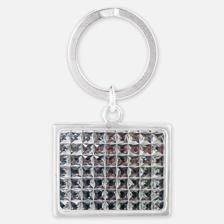 Square Diamond Bling Landscape Keychain