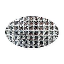 Square Diamond Bling Oval Car Magnet