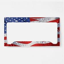 Waving Wind American Flag License Plate Holder