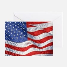 Waving Wind American Flag Greeting Card