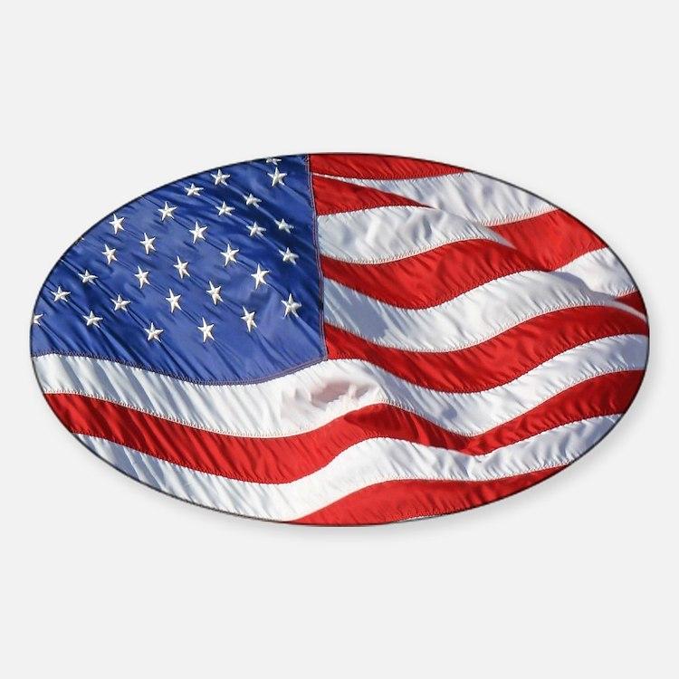 Waving Wind American Flag Decal