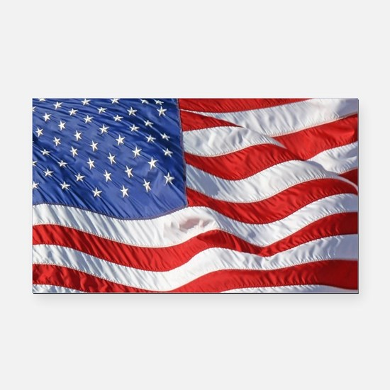 Waving Wind American Flag Rectangle Car Magnet