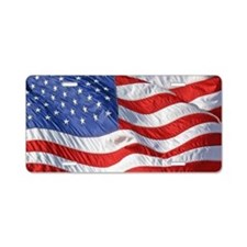 Waving Wind American Flag Aluminum License Plate