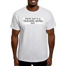 Telemark Skiing day Ash Grey T-Shirt