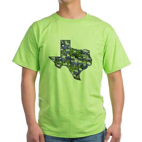 Texas Bluebonnets Green T-Shirt