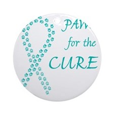 trp_paw4cure_teal Round Ornament