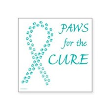 "trp_paw4cure_teal Square Sticker 3"" x 3"""