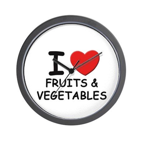 I love fruits & vegetables Wall Clock
