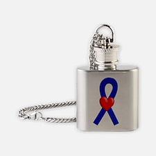 Blue Heart Ribbon Flask Necklace