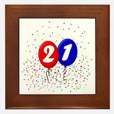 21bdayballoonbtn Framed Tile